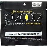 Pizootz Peanuts Sea Salt & Cracked Pepper, 1.45oz (41g), Pack of 12