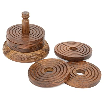 Rustic Wood Coasters Set of 6 with Holder