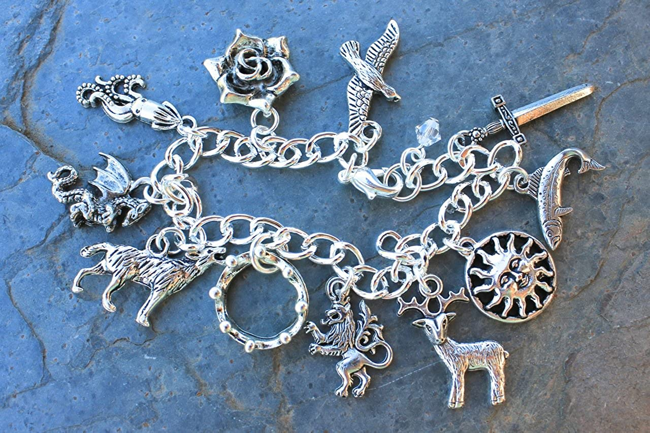 Sizes XS XL Fantasy Fan Jewelry Game of Thrones Silver Plated Charm Bracelet with Pewter Charms