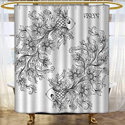 Anhounine Zodiac Shower Curtain Collection By Floral Images Pisces Sign Fish House Of The Water Element