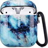 Airpods Case - LitoDream Cute Marble Airpods Accessories Protective Hard Case Cover Portable & Shockproof Women Girls…