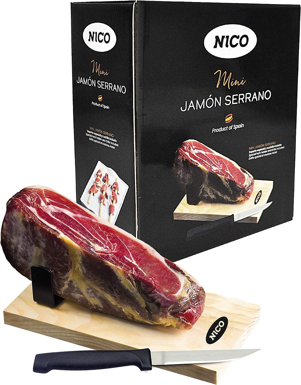 Pack de MINI JAMÓN SERRANO con kit de mini jamonero y cuchillo. Aprox. 1 kg. Curación de más de 9 meses. Auténtico serrano. Ideal para regalo.