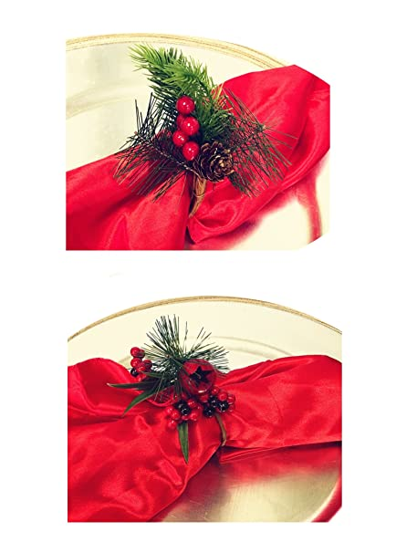 Nature Inspired Napkin Ring Holders For Christmas Table Decoration And Winter Holiday Party Set Of 4 6 8 10 12 16 4