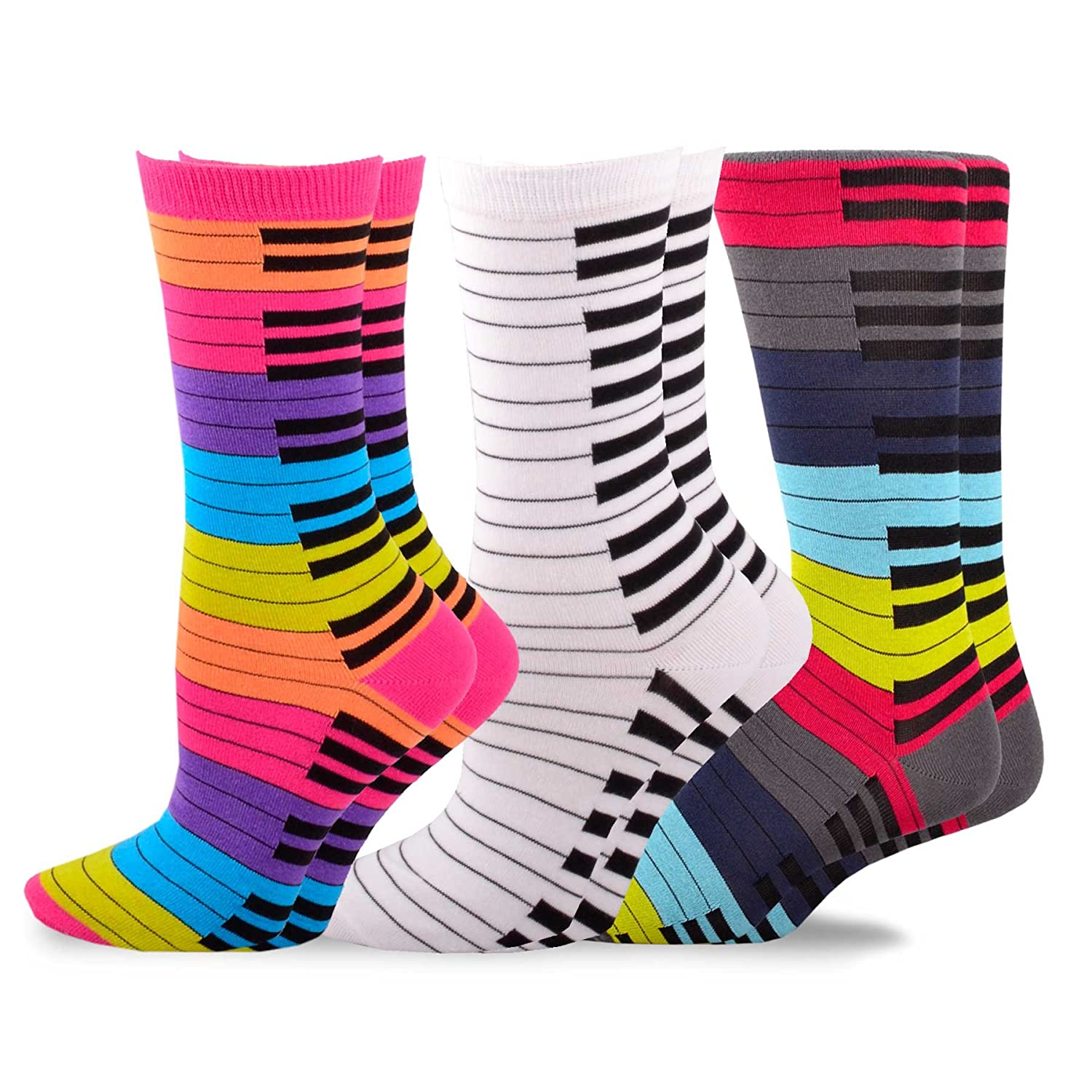 TeeHee Music Cotton Crew Socks for Women and Men 3-Pack Soxnet Inc