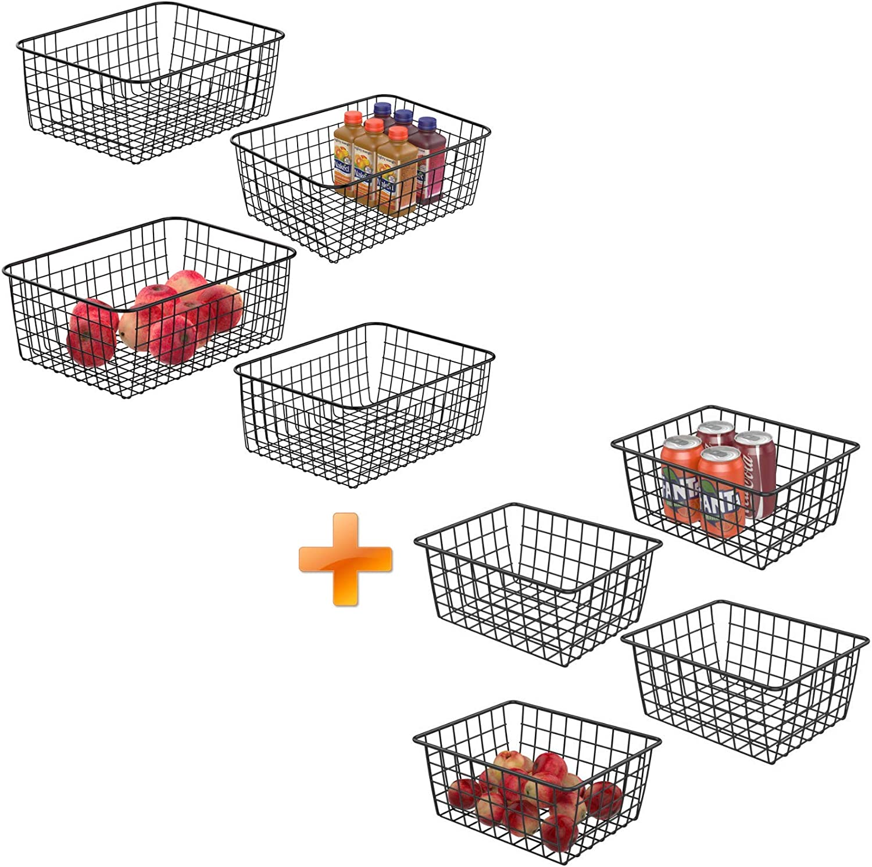 Wire Storage Basket, iSPECLE 3 Size Metal Wire Basket for Storage Freezer Baskets Organizer Bins for Kitchen, Pantry, Closet, Laundry Room, Cabinets, Garage