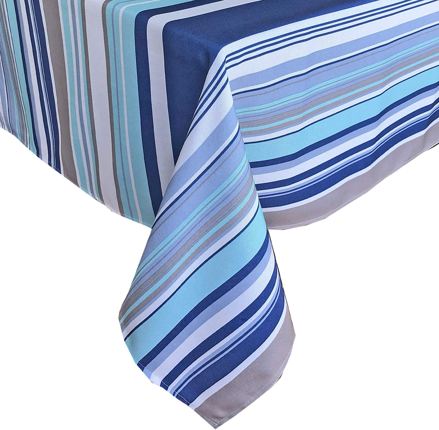 Newbridge Ocean Breeze Stripe Indoor/Outdoor Fabric Tablecloth - Blue and Grey Beach Stripe Soil Resistant, Water Repellent Fabric Tablecloth, 60 Inch X 84 Inch Oval