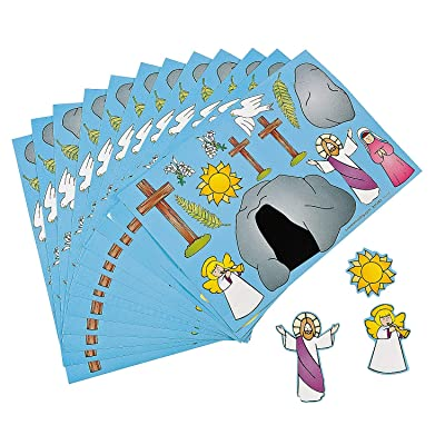 "Fun Express ""He Lives!"" Jesus Make a Sticker Scenes for Easter (Set of 12) Sunday School and Religious Supplies: Toys & Games"