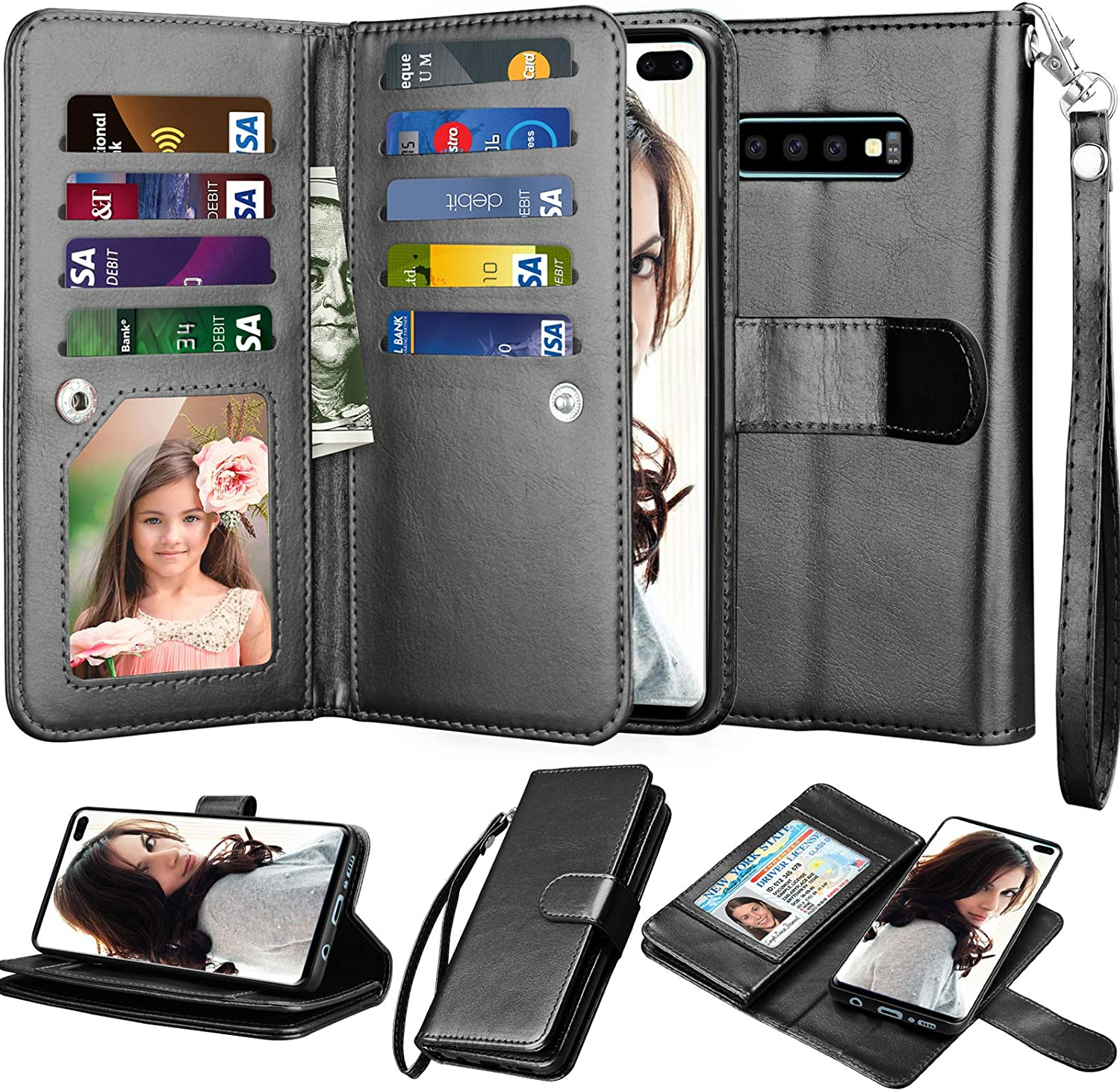 NJJEX Wallet Case for Galaxy S10 Plus, for Galaxy S10+ Case, PU Leather [9 Card Slots] Credit Holder Folio Flip [Detachable][Kickstand] Magnetic Phone Cover & Wrist Strap for Samsung S10 Plus [Black]