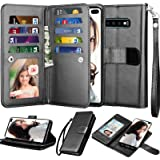 NJJEX Wallet Case for Galaxy S10 Plus, for Galaxy S10+ Case, PU Leather [9 Card Slots] Credit Holder Folio Flip [Detachable][