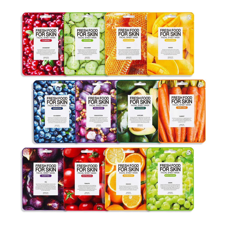 FARMSKIN Freshfood Salad For Skin Beauty Facial Sheet Mask 12 Sheets Set, Assorted Value Pack12