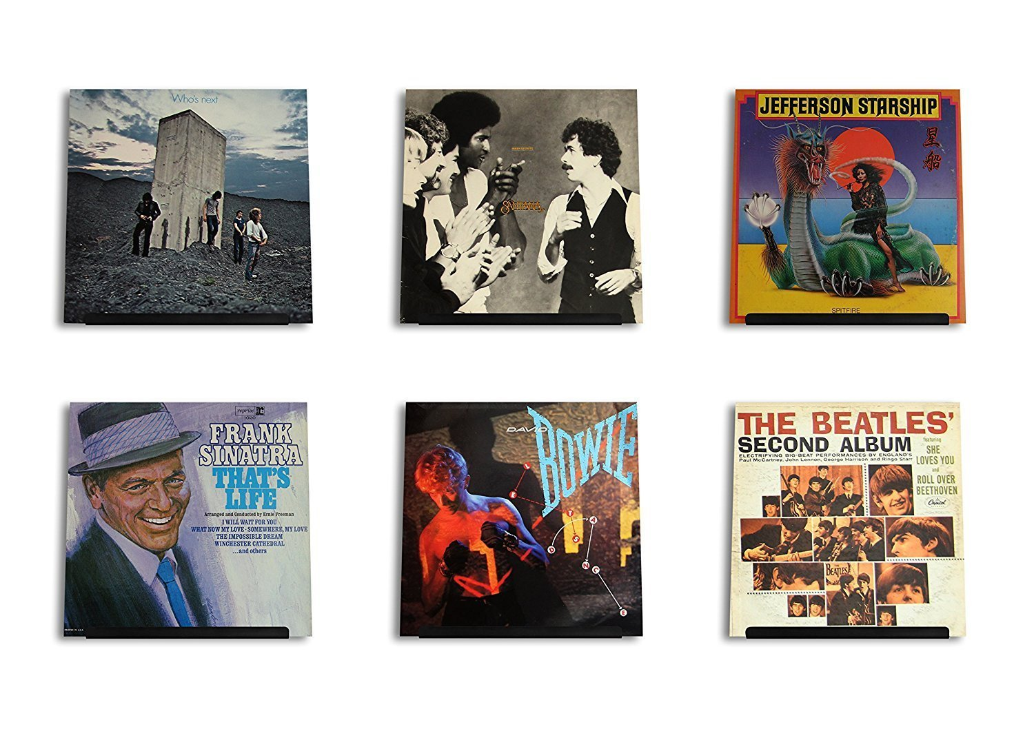 Hudson Hi-Fi LP Vinyl Record Wall Display | Black Satin | Display Your Daily Listening in Style | Six Pack