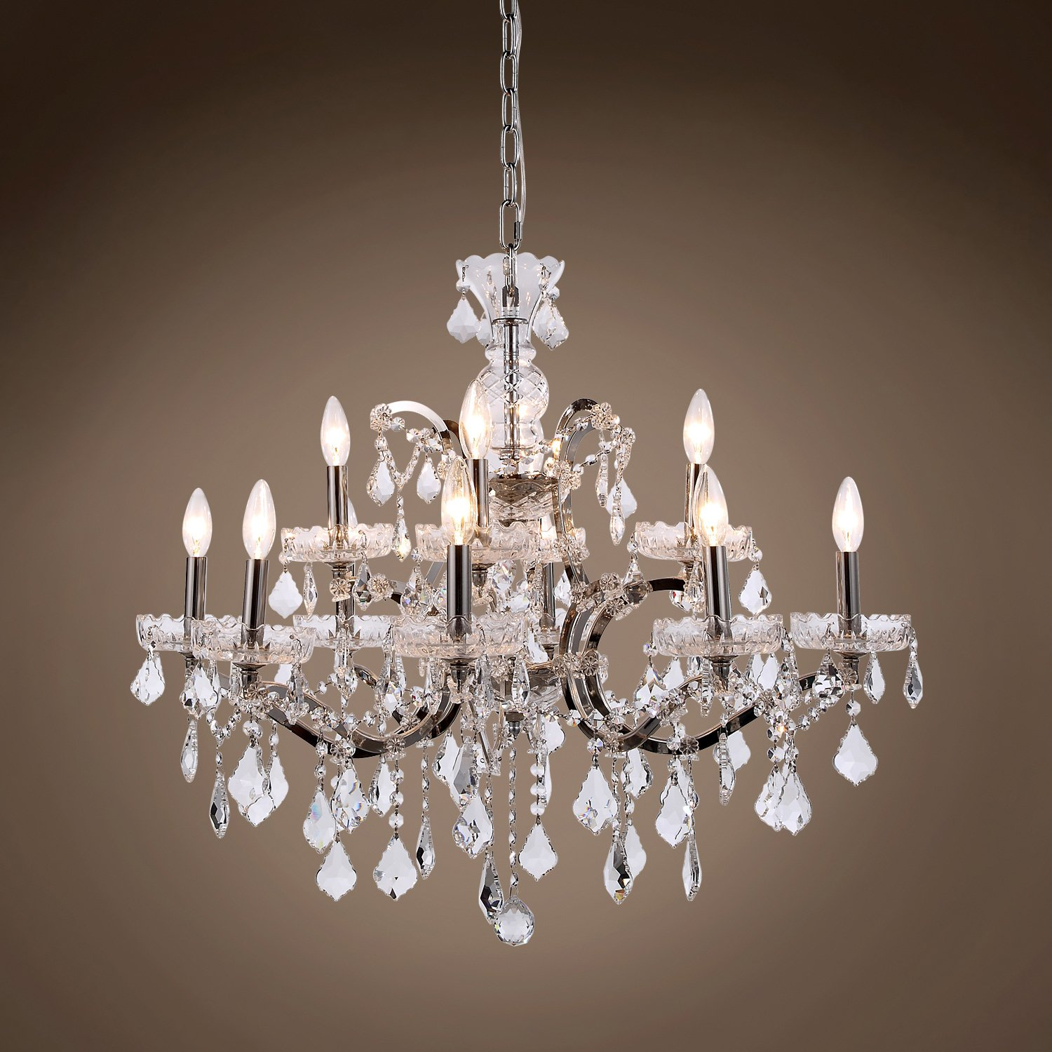 "Transitional 19th c Rococo Chandelier 12 Light 26"" Rustic Iron"