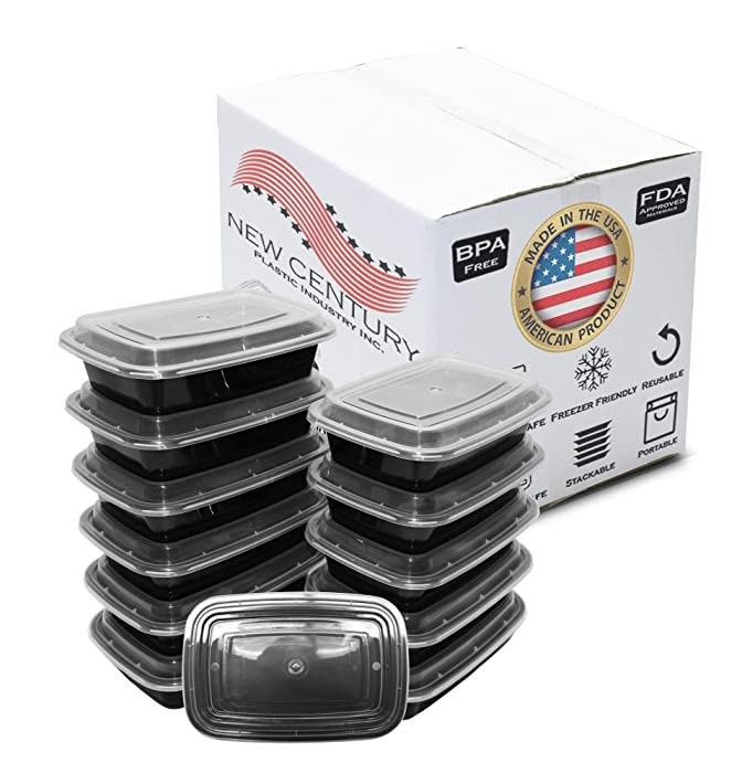 12-Pack [38 oz] 1-Compartment Food Container - Rectangular Meal Prep Bento with Lid - Portable Lunch Box - Stackable - BPA Free - Freezer/Microwave/Dishwasher Safe - Reusable Storage - USA Made