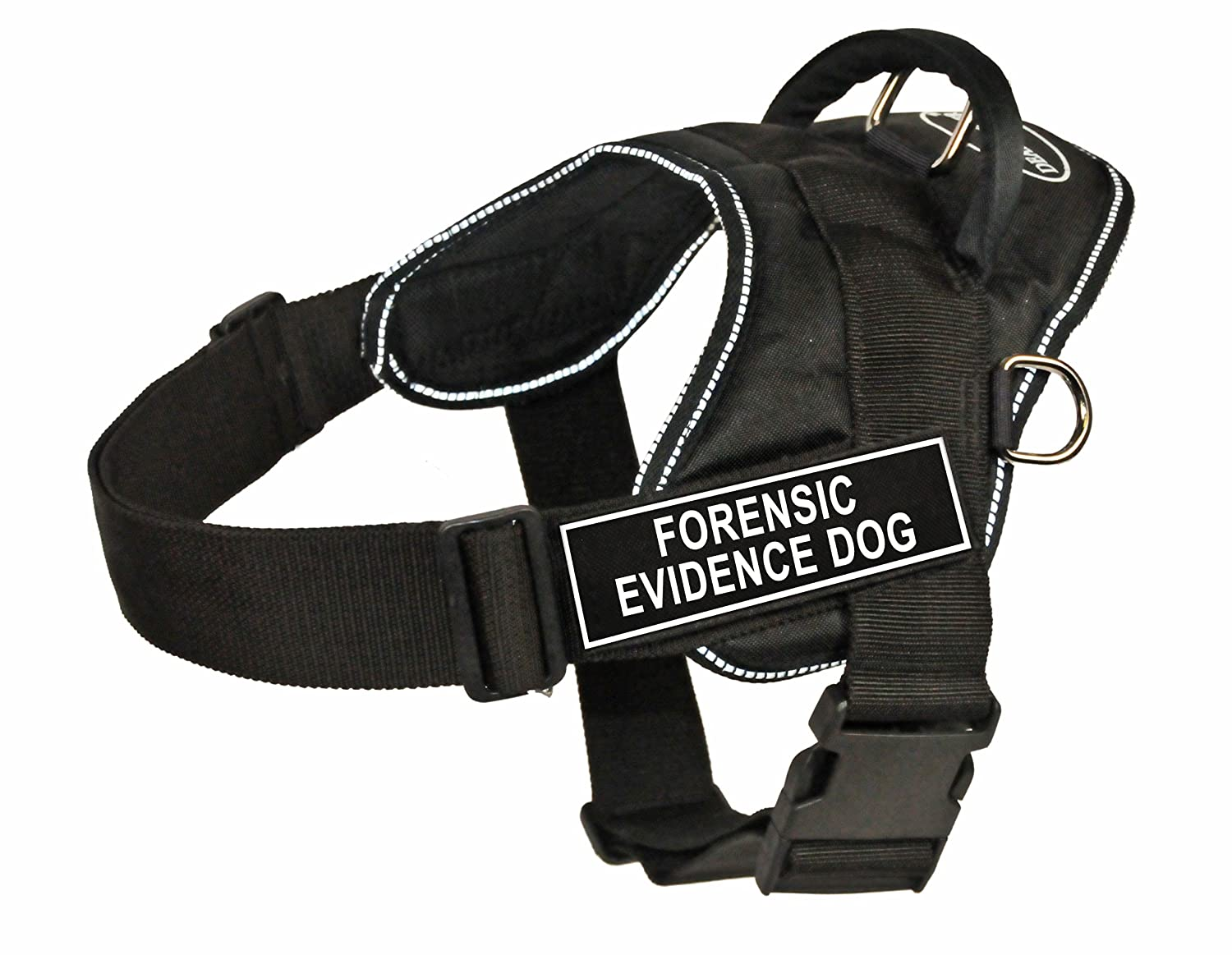 Dean & Tyler Fun Works 20-Inch to 23-Inch Pet Harness, X-Small, Forensic Evidence Dog, Black with Reflective Trim