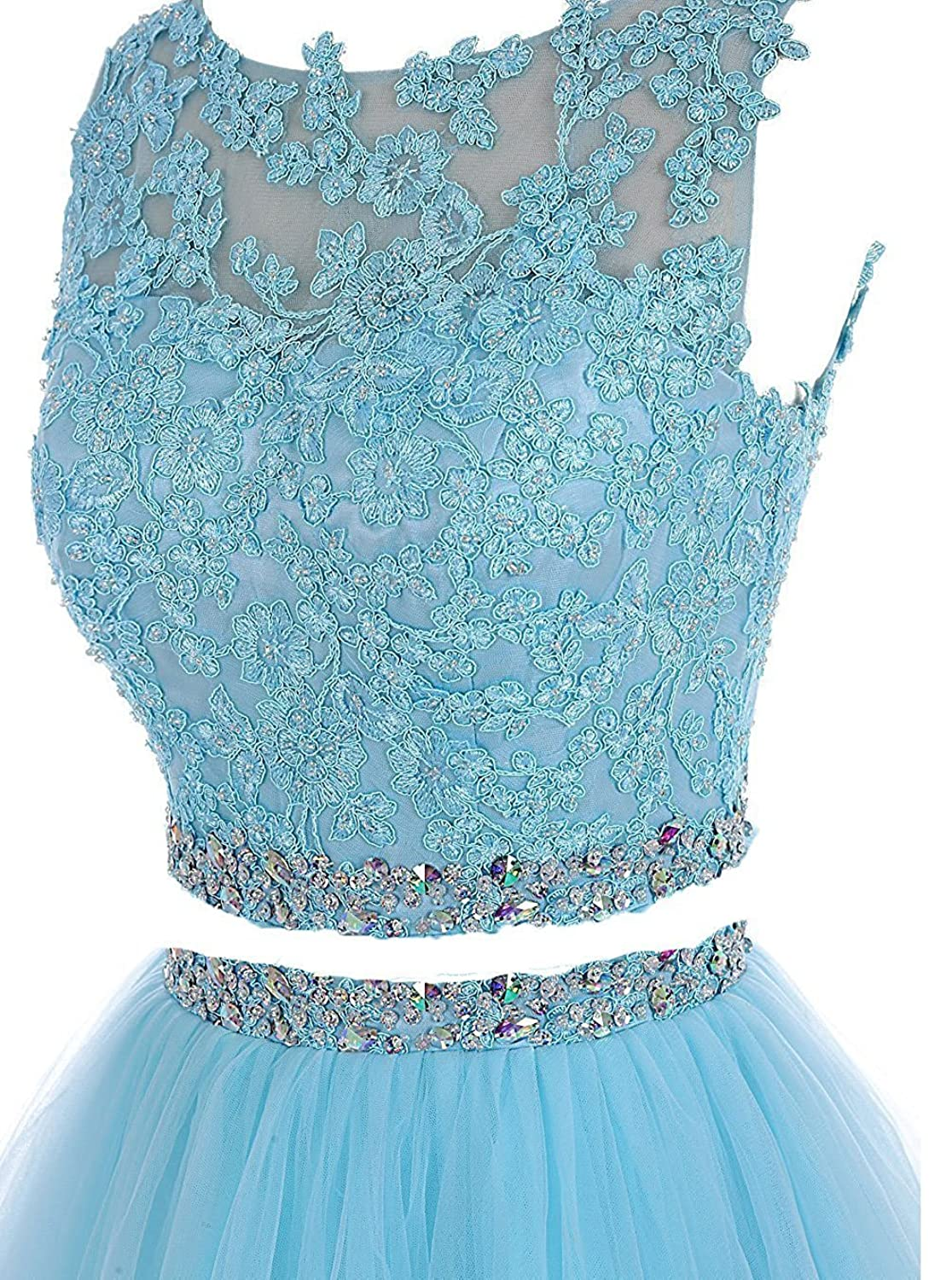 Pettus Women\'s Two Pieces Lace Bodice Beaded Short Prom Dress ...