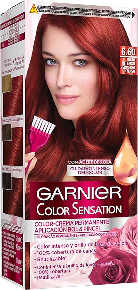 Garnier Color Sensation - Tinte Permanente Rojo Intenso 6.60, disponible en más de 20 tonos