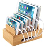 NEXGADGET Eco-Friendly Bamboo Multi-Device Charging Station Stand Desktop Organizer Compatible with 4/5/6-Port USB Charger for Smartphones and Tablets