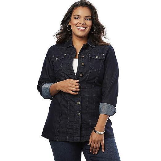 7a8827732 Roamans Women s Plus Size Long Jean Jacket - Black Blue Denim