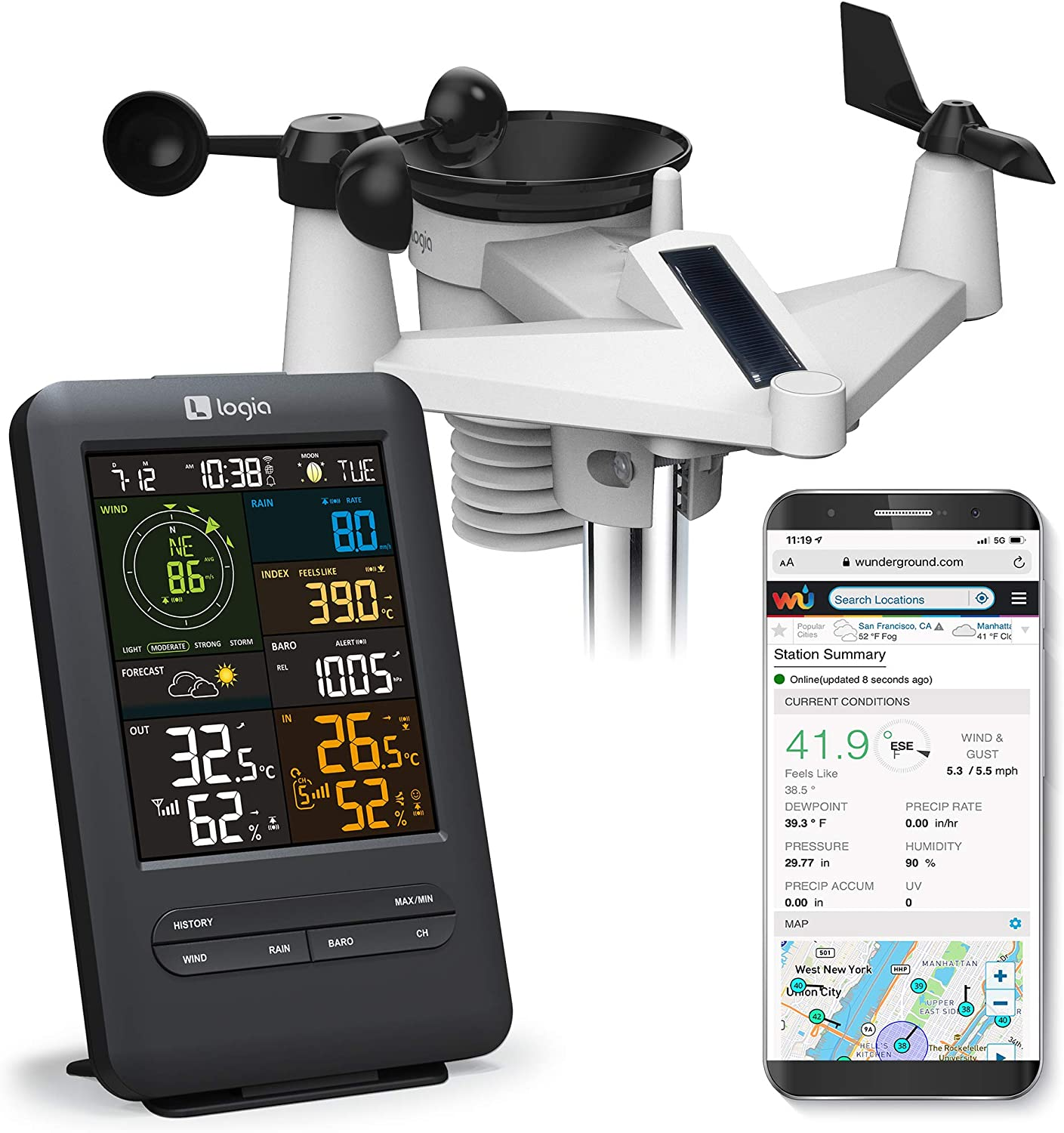 Logia 5-in-1 Wi-Fi Weather Station with Solar | Indoor/Outdoor Remote Monitoring System, Temperature Humidity Wind Speed/Direction Rain & More, Wireless Color Console w/Forecast Data, Alarm, Alerts