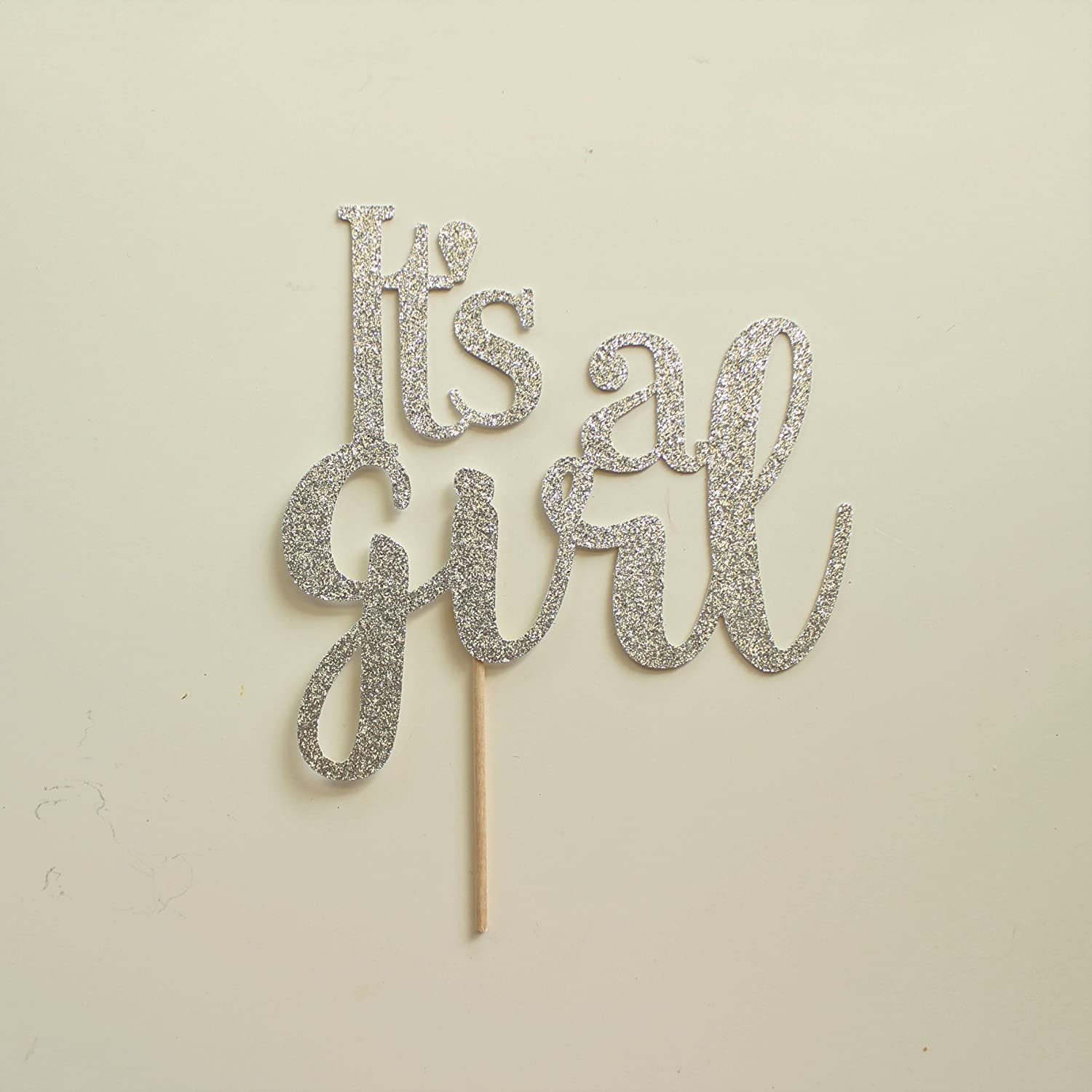 Silver Glitter It's a Girl Cake Topper, Script, Baby Shower, Gender Reveal, Sip and See