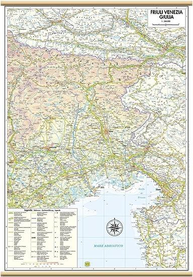 Cartina Geografica Veneto E Friuli Venezia Giulia.Friuli Venezia Giulia Carta Regionale Murale 47x70 Cm Belletti Amazon It Cancelleria E Prodotti Per Ufficio