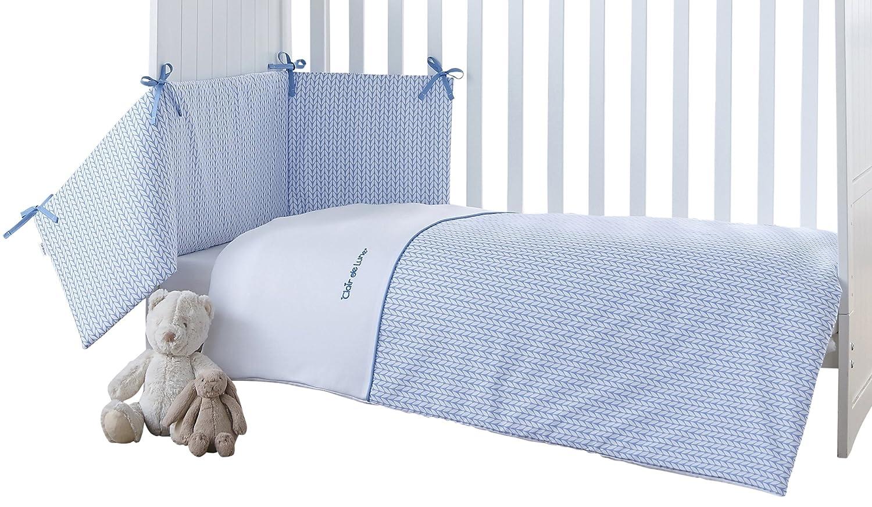 Clair de Lune Barley Bébé Cot Bed Quilt and Bumper (Blue, 2-Piece)