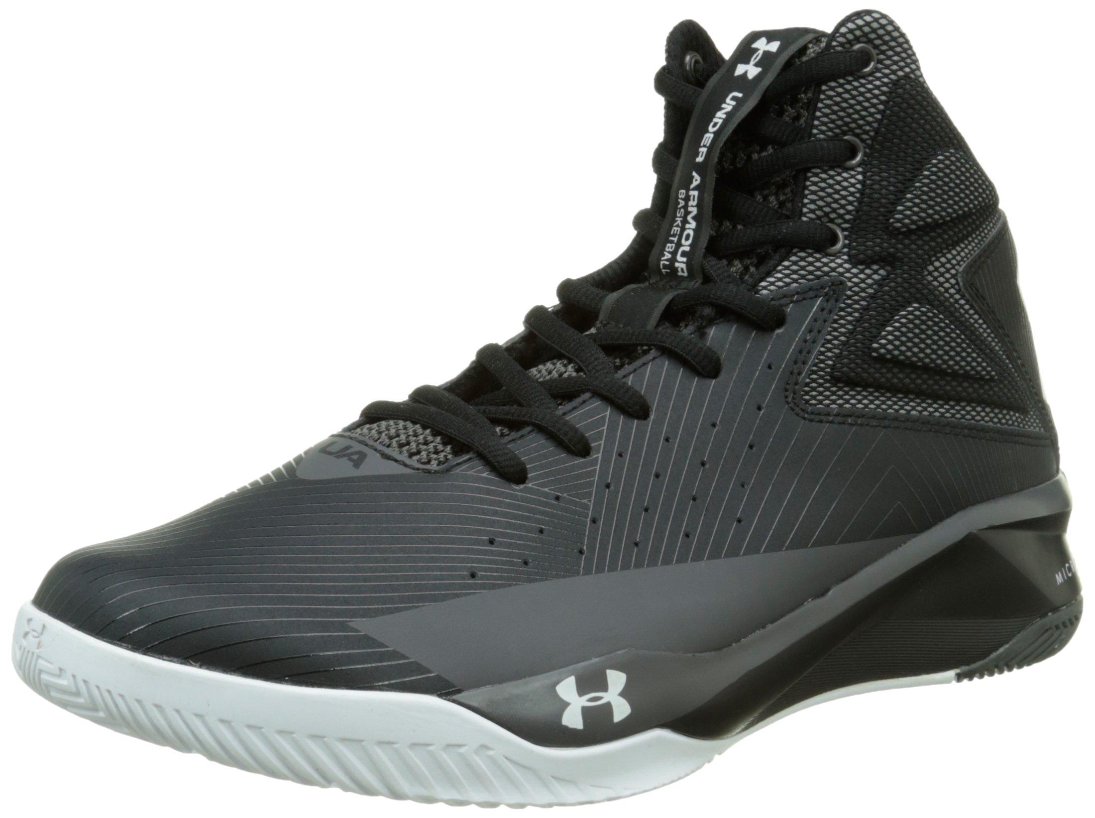 Under Armour Mens UA Rocket Basketball Shoes Black/White/Charcoal 8 D(M) US