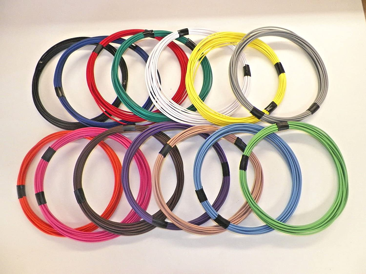 18 GXL HIGH TEMP 12 SOLID COLORS 25 FEET EACH 300 FEET TOTAL AUTOMOTIVE WIRE