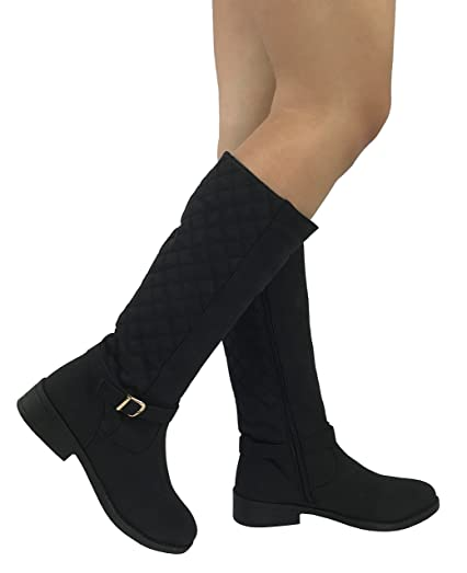 Amazon.com   Womens Quilted Knee High Boots Soft Faux Suede Flat ... : quilted long boots - Adamdwight.com
