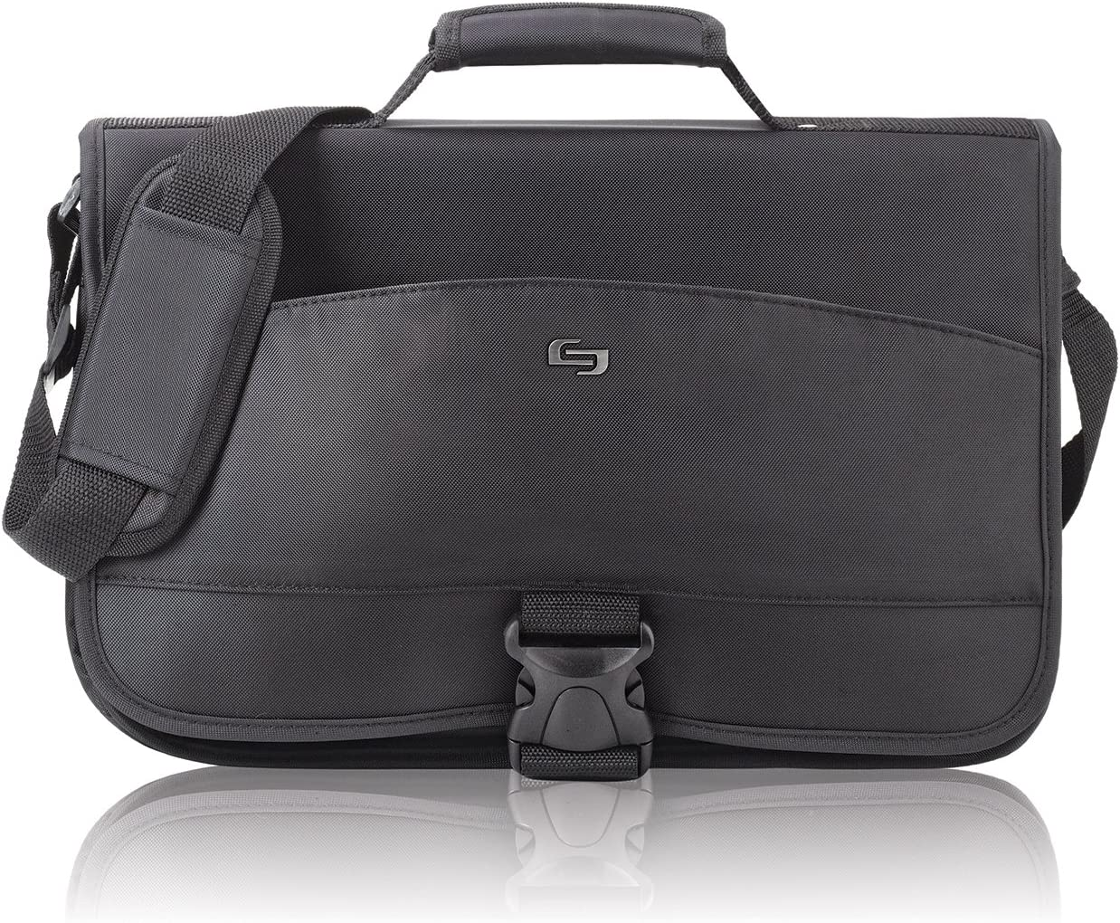 Solo Conquer 15.6 Inch Expandable Laptop Messenger, Black