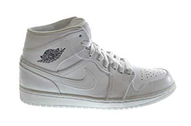 Jordan Air 1 Mid Mens Basketball Shoes White/Cool Grey-White 554724-120