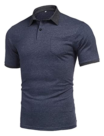 0eec9b8e poriff Mens Summer Active Wear Golf Polo Shirts Slim Fit Lightweight Short  Sleeve Polo T Shirt