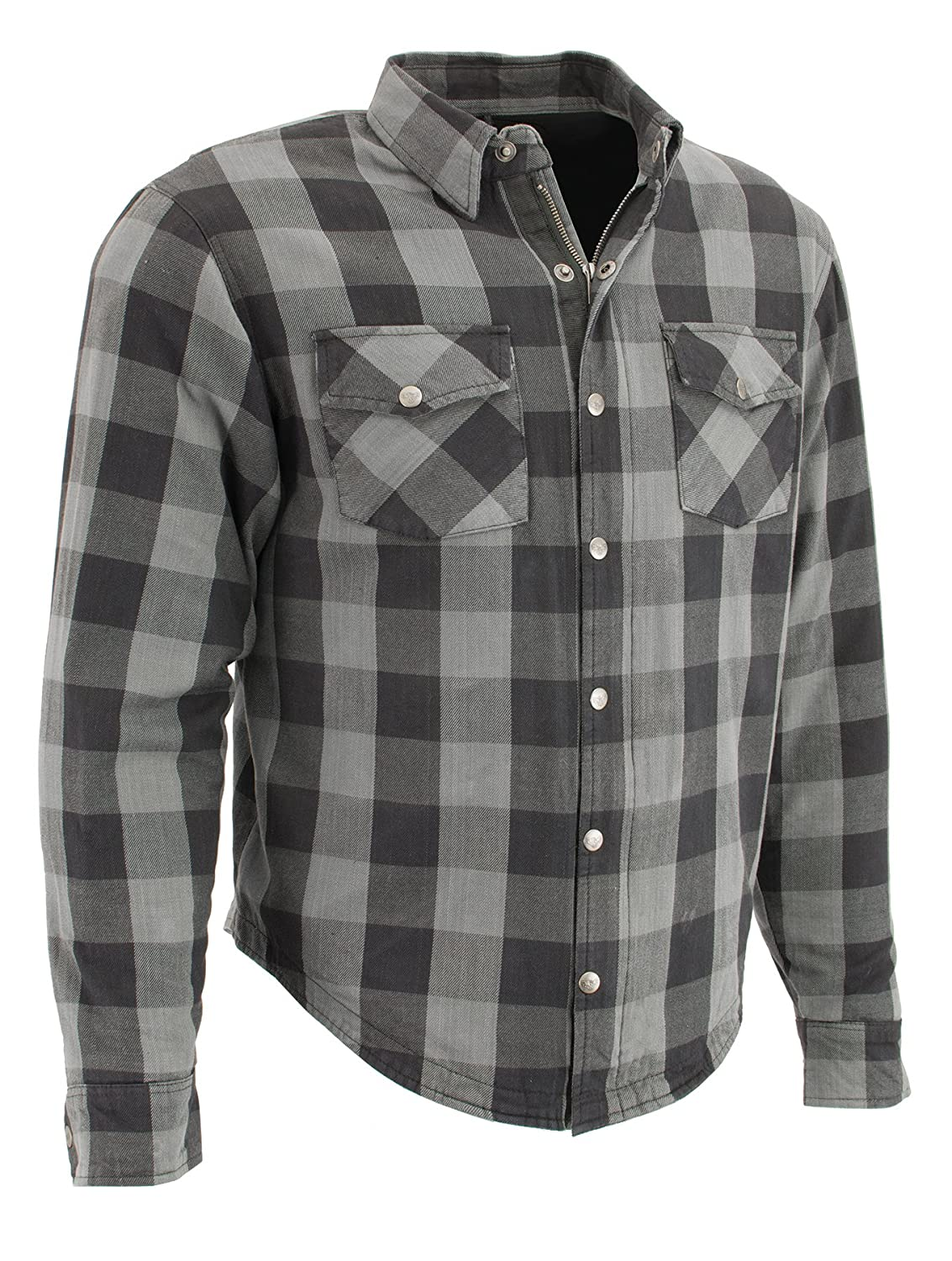Milwaukee Performance MPM1630-BLK/GREY-L Men's Checkered Flannel Biker Shirt with Aramid Black/Grey, L