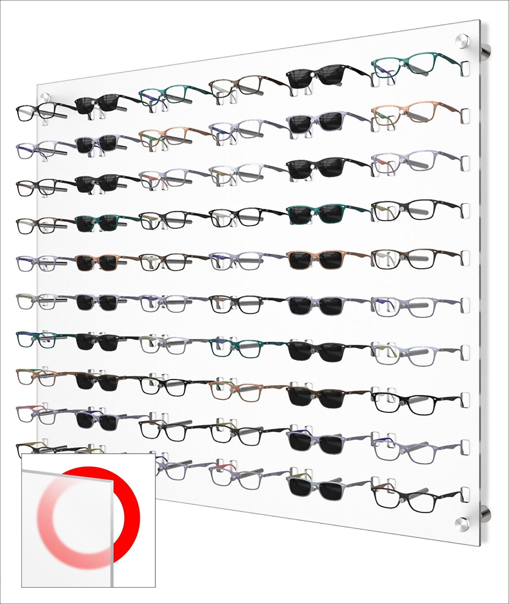"Optical Display for 60 Eyewear Frames - Wall Mount Acrylic Eyewear or Sunglass Display Package in Frosted White for 60 Frames – 31.25"" (H) X 36.5"" (W)"