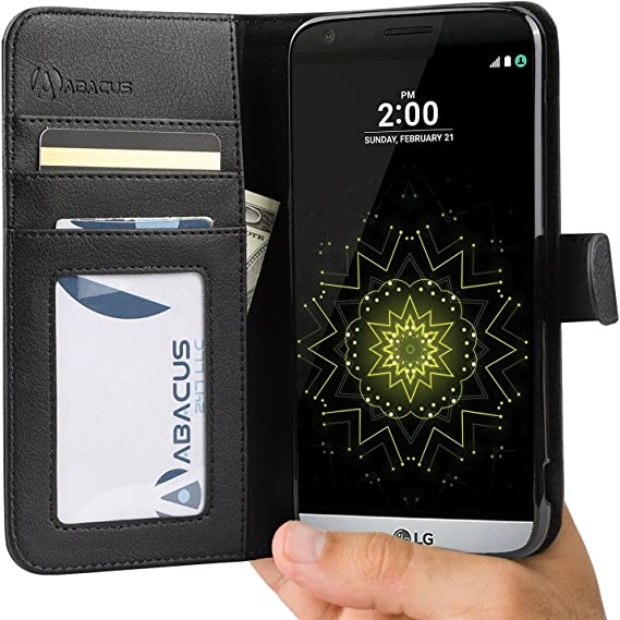 wholesale dealer f6f7a 2ae08 LG G5 Case by Abacus24-7, Wallet with Flip Cover and Stand for LG G5 Phone,  Black