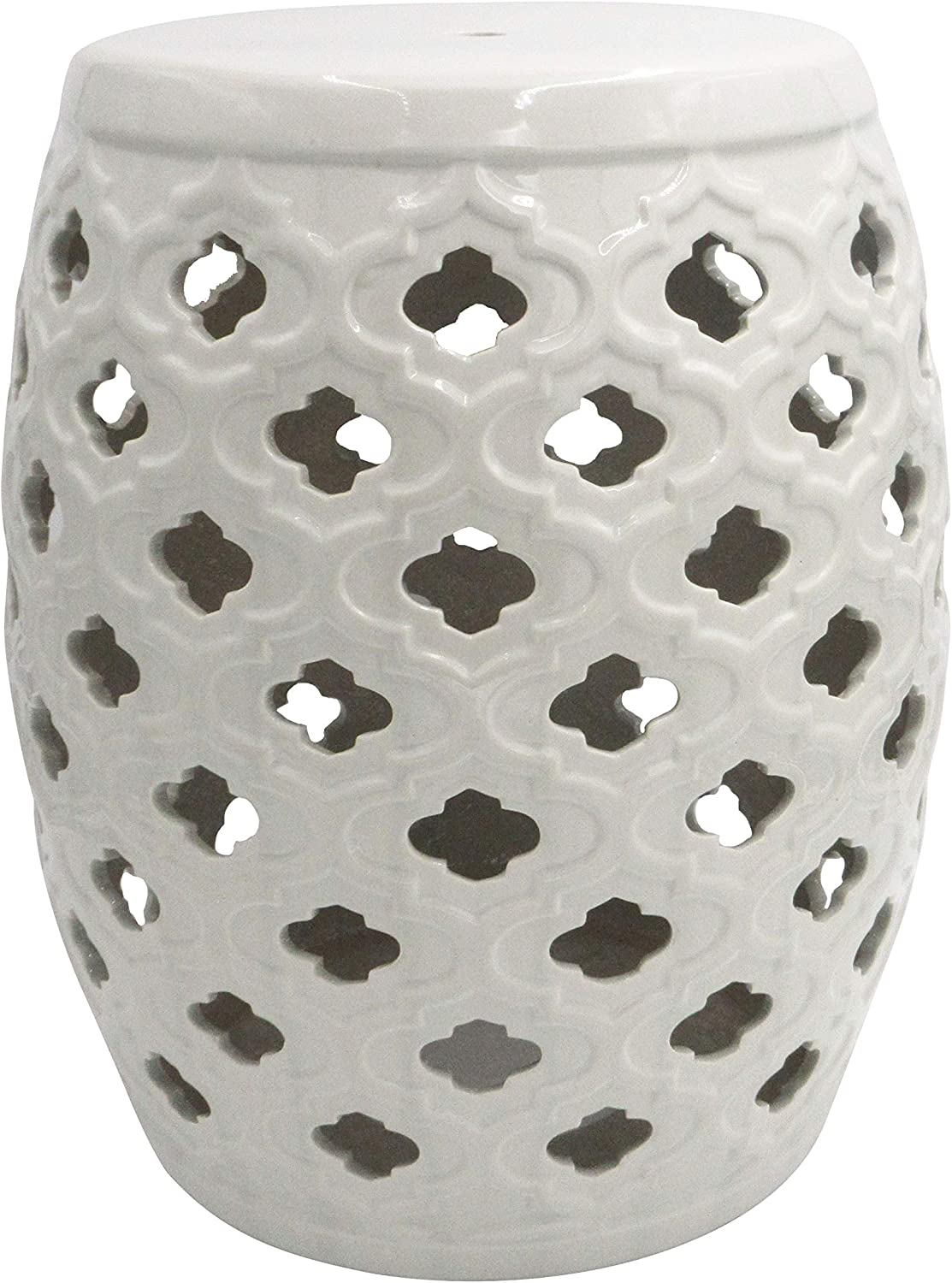 "Ravenna Home Moroccan-Pattern Ceramic Garden Stool or Side Table, 16""H, Off-White"
