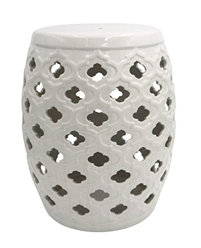 Ravenna Home Moroccan-Pattern Ceramic Garden Stool or Side Table, 16 H, Off-White