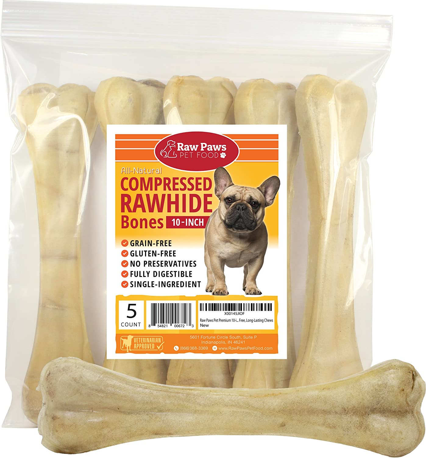 Raw Paws Pet Premium 10-inch Compressed Rawhide Bones for Dogs – Packed in USA – Long Lasting Dog Chews – Natural Pressed Rawhides – Large Dog Bones – Beef Hide Bones for Aggressive Chewers