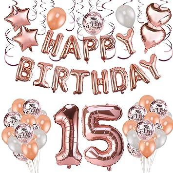 Howaf Decoración de cumpleaños 15 en Oro Rosa, 59 Piezas Feliz cumpleaños Decoración Globos Guirnalda Banner 15 Años Globos de Confeti y Estrella ...