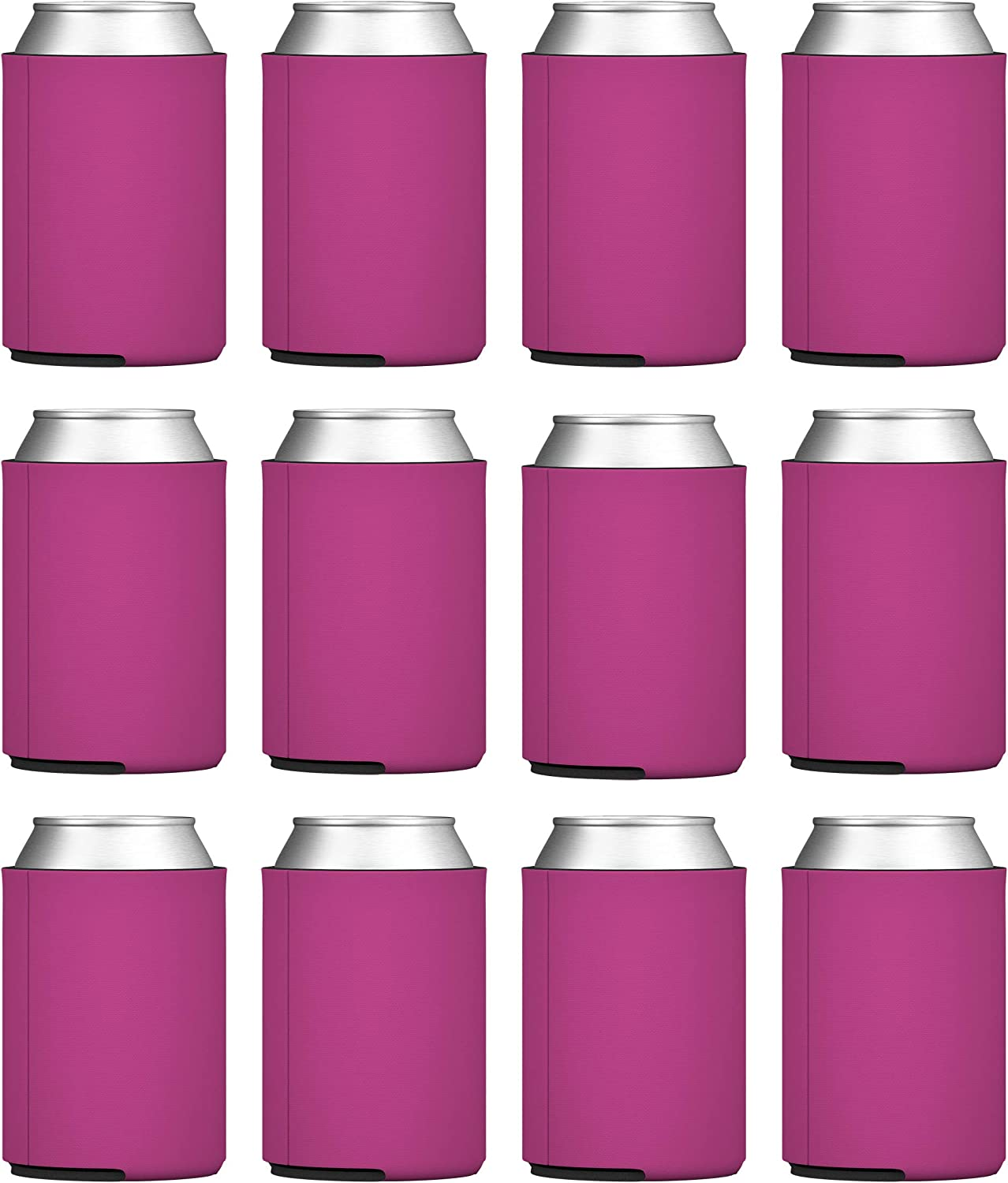 TahoeBay Blank Beer Can Coolers, Plain Bulk Collapsible Foam Soda Cover Coolies, Personalized Sublimation Sleeves for Weddings, Bachelorette Parties, HTV Projects (Fuchsia)