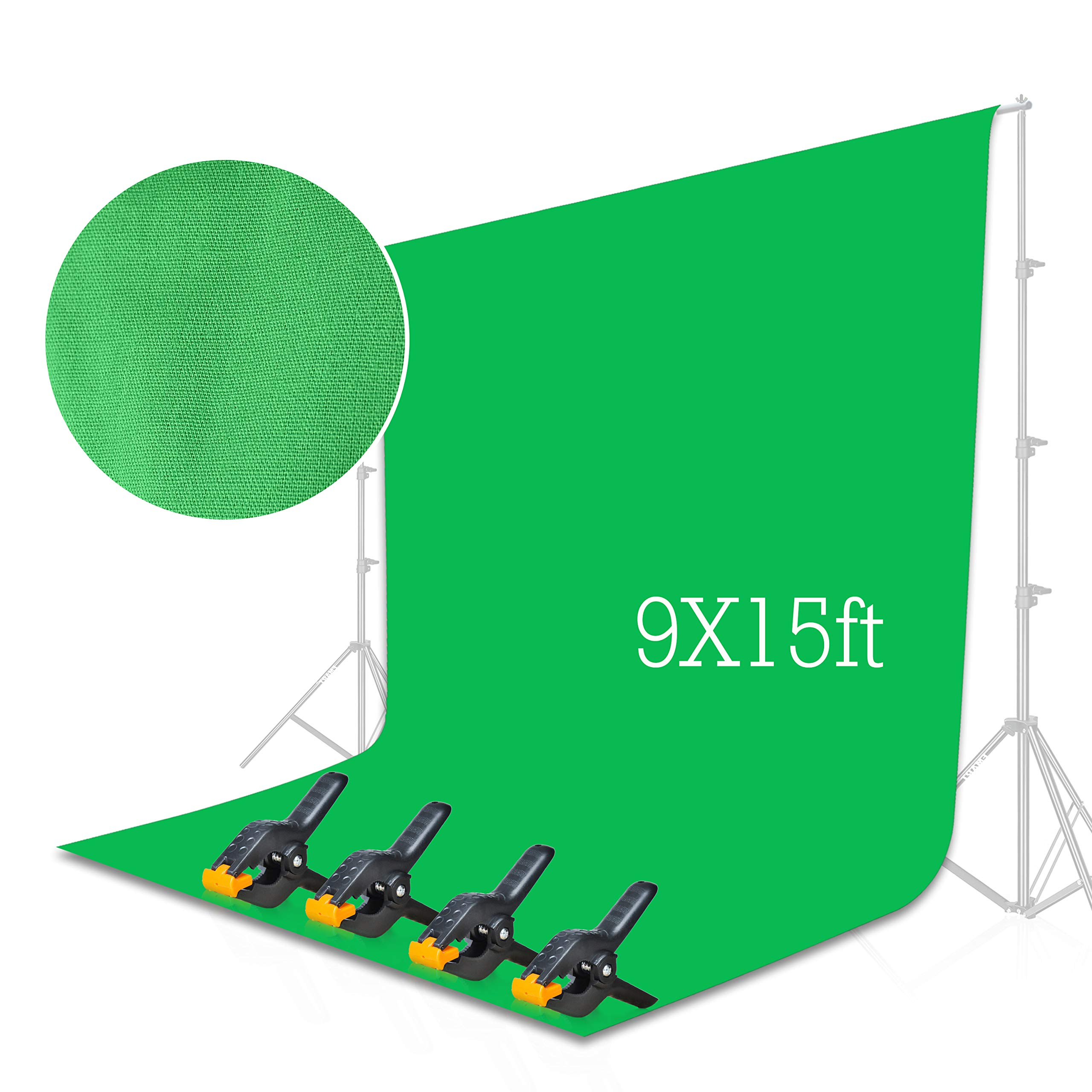 Emart Green Backdrop Background Screen 9 x 15 ft Muslin Photo Video Backdrop Studio, 4 x Backdrop Clamp Included by EMART