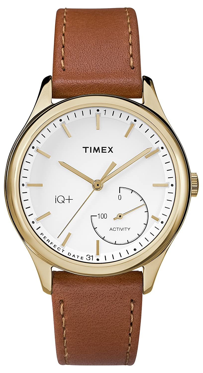 CDM product Timex Women's TWG013600L3 Fashion IQ+ Move White Dial and Brown Leather Strap Additional Silicone Strap Watch big image