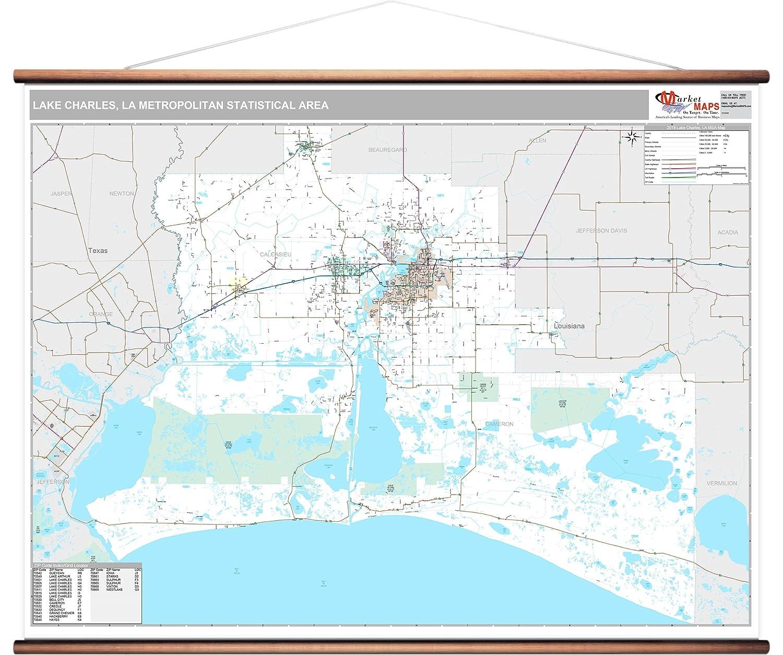 La Metro Map 2018.Amazon Com Marketmaps Lake Charles La Metro Area Wall Map 2018