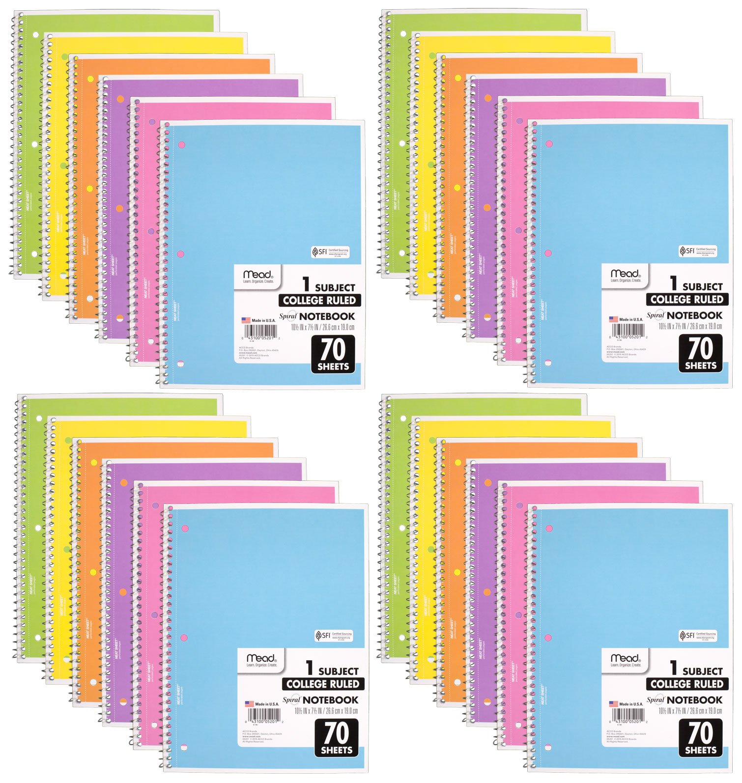 Mead Spiral Notebook, 24 Pack of 1-Subject College Ruled Spiral Bound Notebooks, Pastel Color Cute school Notebooks 70 Pages by Mead