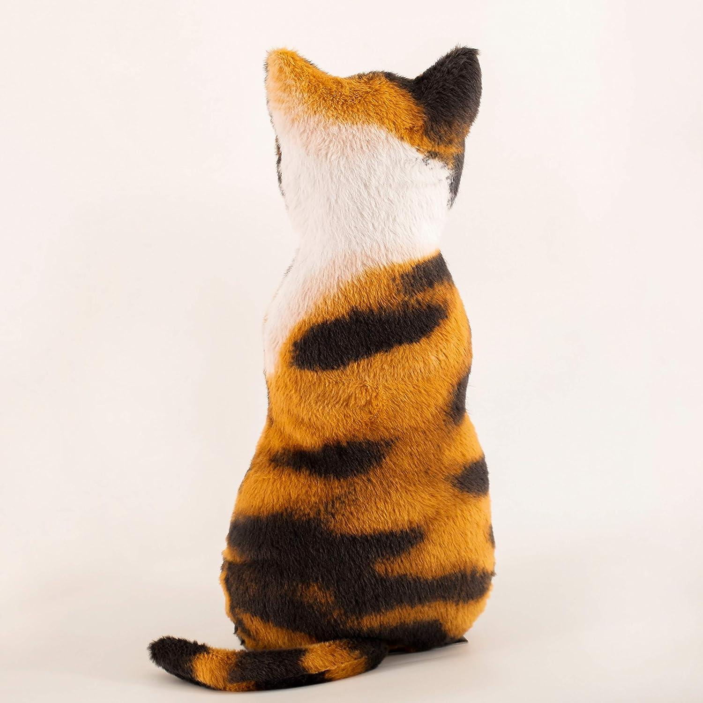 meowtastic Cat Plush, Stuffed Cat Plush Pillow, Calico Sillouette Plush with Artificial Fur Realistic and Lifelike for Sofa, Windowsill, Home Decoration, 17''