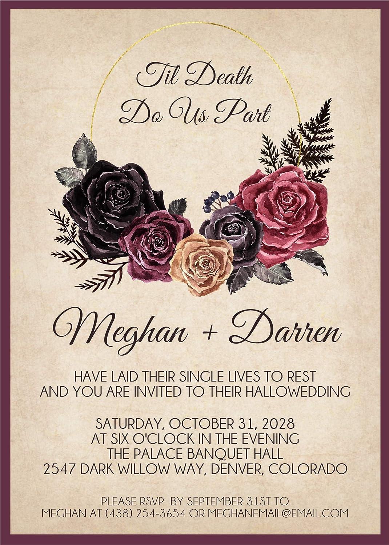 Amazon Com Antique Floral Halloween Wedding Invitations Set Of 10 Handmade