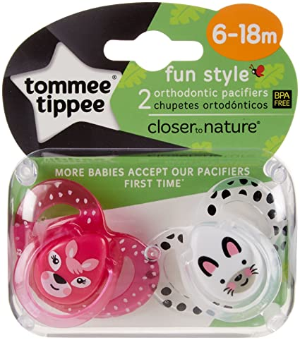 Amazon.com : Tommee Tippee Closer to Nature Fun Pacifiers - Girls ...