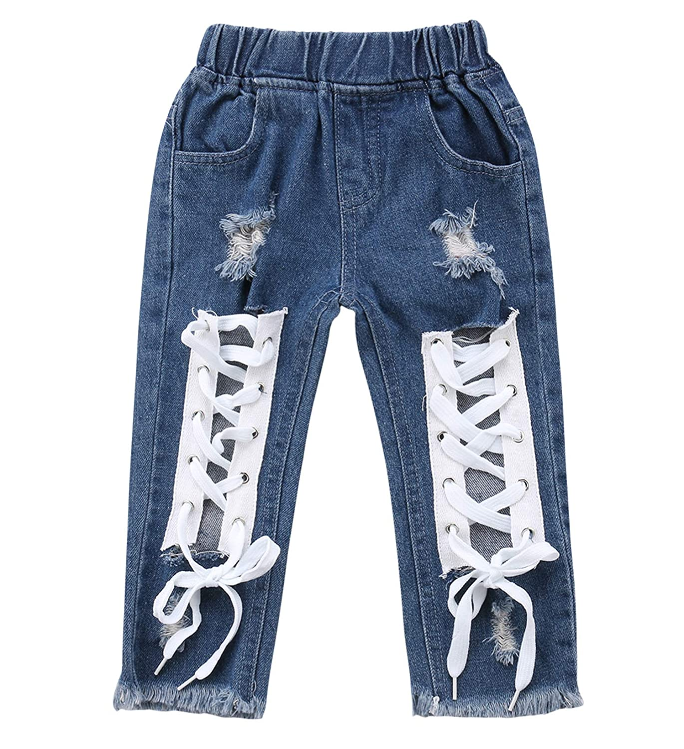Kids Summer Pants Girls Cotton Woven Flare Wide Legs Ruffled Baggy Bottom Jeans