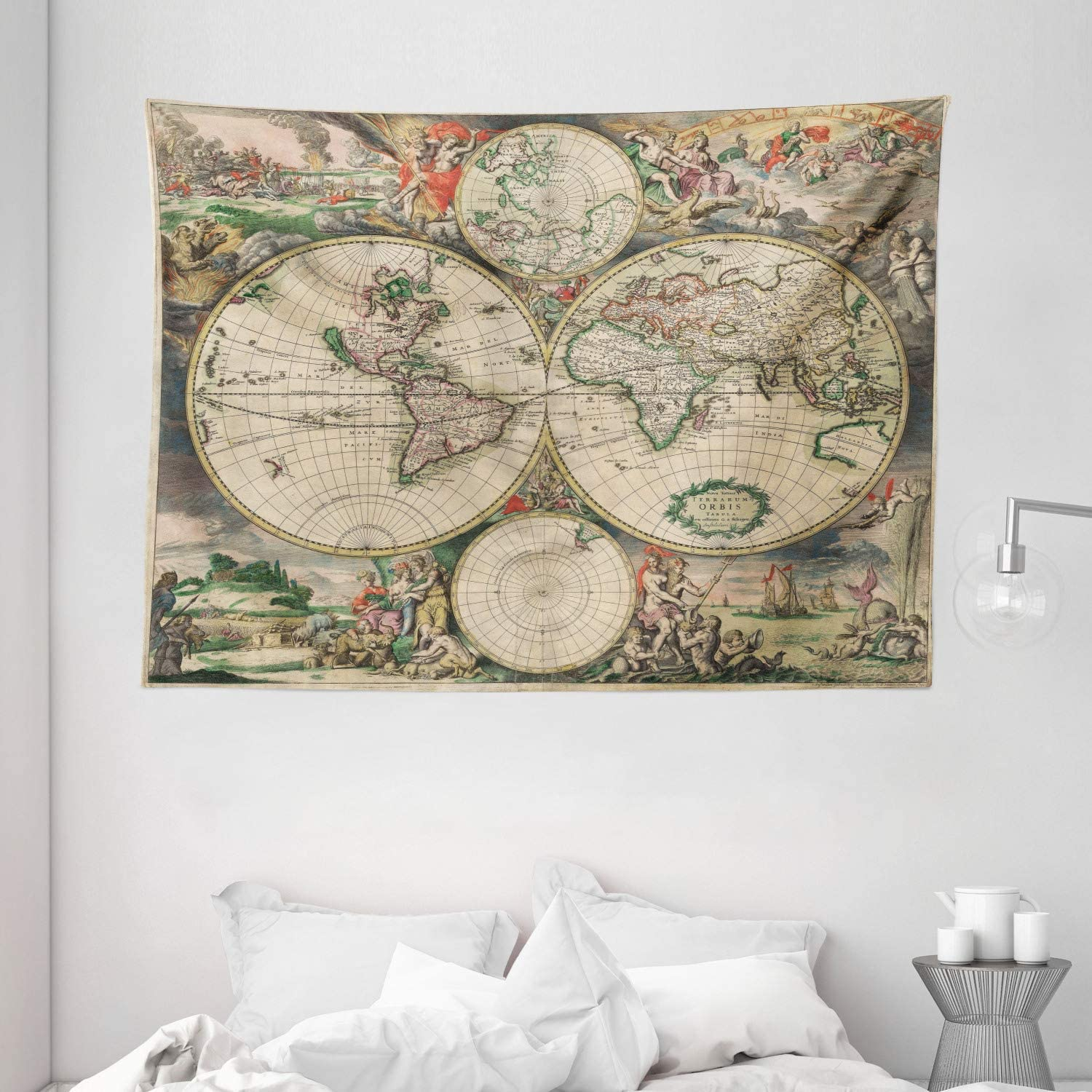 """Ambesonne Vintage Tapestry, Antique Old Aged Map of The World Historical Geography Theme Retro Design, Wide Wall Hanging for Bedroom Living Room Dorm, 80"""" X 60"""", Soft Beige"""