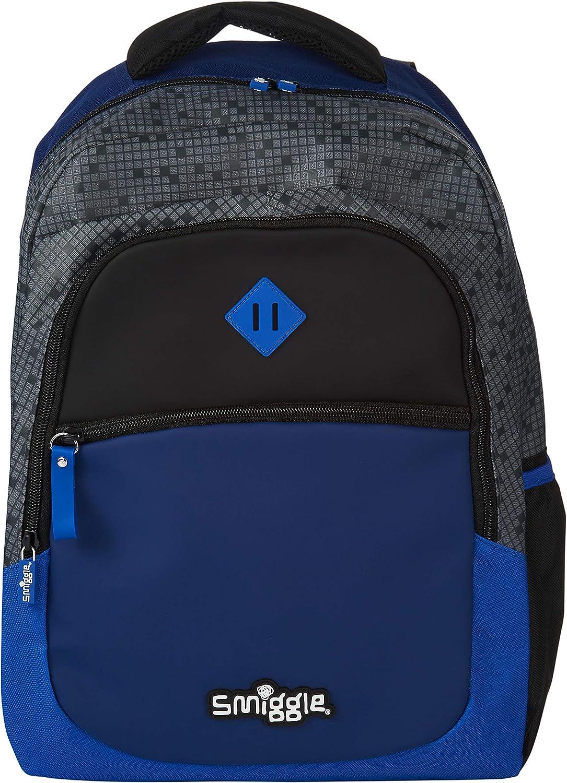 Azul Marino Smiggle Fiambrera Cuadrada para Ni/ños y Ni/ñas de la Colecci/ón Block con Asa de Transporte y Etiqueta para el Nombre